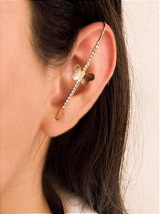 Brinco ear pin com borboleta com fileira de zircônias
