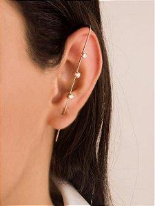 Brinco ear pin com três zircônias