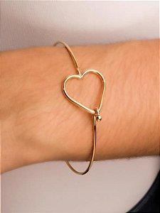 Pulseira bracelete fio redondo coração vazado