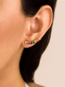 Brinco ear cuff corações de zircônias coloridos