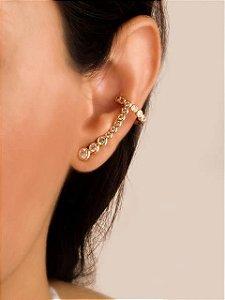 Brinco ear cuff com piercing fake de zircônias