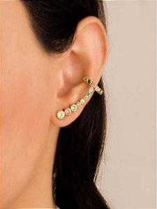 Brinco ear cuff com piercing fake de zircônias multicor