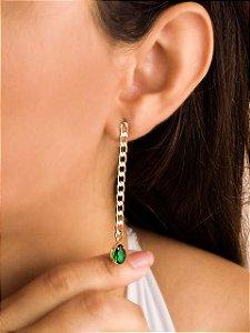 Brinco corrente cadeado com gota de zircônia esmeralda Banho ouro 18 k