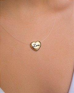 Colar de nylon com pingente de coração escrito love