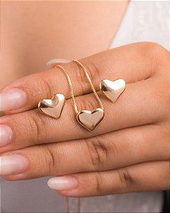 Conjunto de colar e brincos de corações lisos