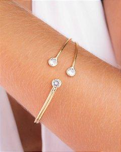 Pulseira bracelete com três zircônias cristais