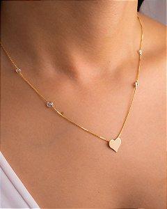 Colar veneziana com coração liso e zircônias cristais