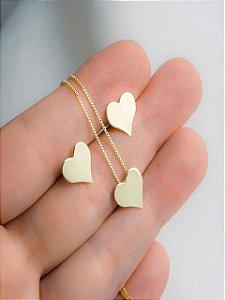 Conjunto colar e brinco de corações