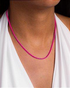 Colar veneziana fina esmaltada rosa pink