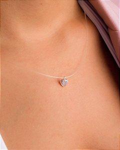 Colar de Nylon com Coração de Zircônia Cristal em Prata