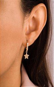 Argola mini argola cravejada com estrela