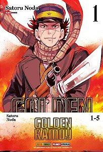 Box Golden Kamuy Edições do 1 ao 5 envolto por cinta em papel