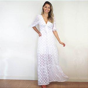 Vestido longo off-white Poa