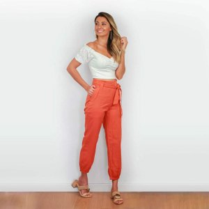 Calça linho cintura alta laranja