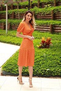 Vestido midi laise manga princesa laranja