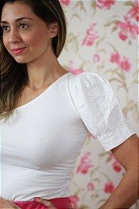 Blusa um ombro só manga em laise off-white