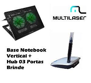 Base Notebook 9 A 17'' Ajuste Vertical + Hub Usb 3 Portas