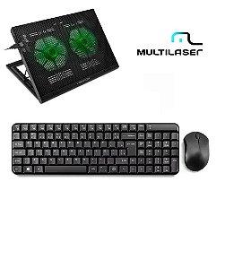 Kit Teclado E Mouse Sem Fio 2.4 Ghz + Base Vertical Notebook