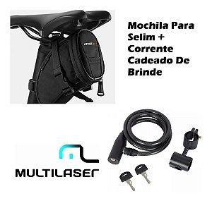 Kit Bolsa Bag Selim Banco De Bicicleta Bi093 +cadeado Brinde