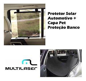 Protetor Solar Retrátil Carro Vidro Passageiro + Capa Pet