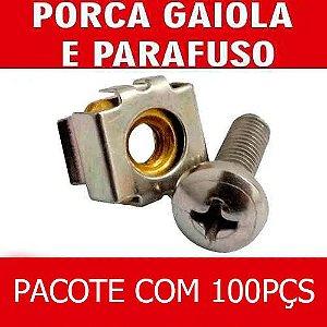 Kit Porca Gaiola + Parafuso Para Rack De Telecom Com 100 Pçs