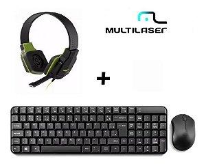 Kit Teclado E Mouse Sem Fio 2.4 Ghz + Fone Gamer Multilaser