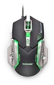 Mouse Gamer 2400dpi  Multilaser Led - Botão Avançar / Voltar