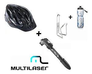 Capacete Ciclismo Atrio + Garrafa Termica + Bomba Ar