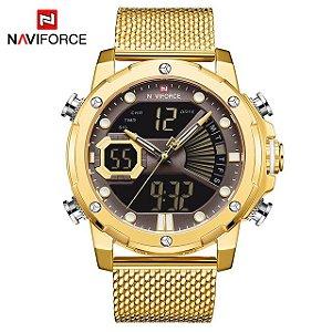 Relógio Masculino Esportivo LUXO Dourado NAVIFORCE