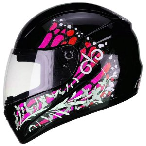 Capacete Fly F9 Butterfly Preto/Rosa