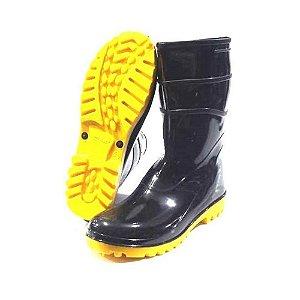 Bota de Chuva Motoqueiro Pvc Sola Amarela Cano Médio Bracol
