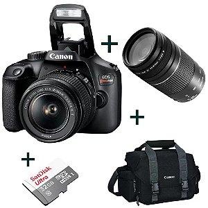 Câmera Digital Canon Rebel T100 Wi-Fi + Lente 75-300+Bolsa+Cartão 32GB