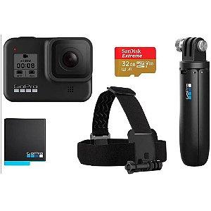 Kit GoPro HERO8 Black Essencial Cartão de 32GB - Shorty, Bateria Extra e Faixa de Cabeça