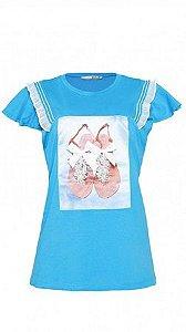 T-Shirt Com Aplique de Sandália