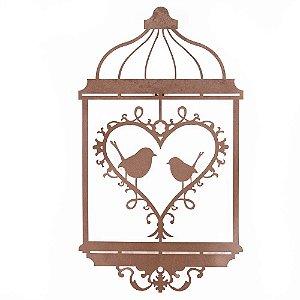 Escultura de Parede Gaiola Pássaros Coração