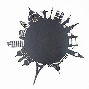 Escultura de Parede Skyline Mundo