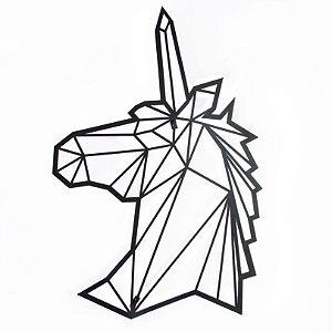 Escultura de Parede Origami Geométrico Unicórnio Aço Galvanizado