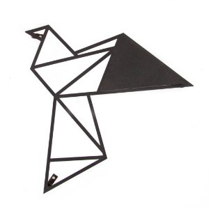 Escultura de Parede Origami Geométrico Pássaro Voando 2 Aço Galvanizado