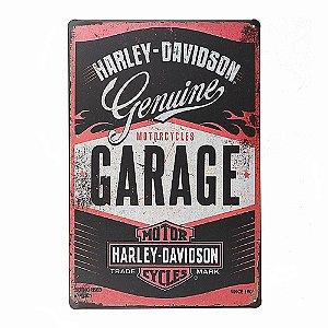 Placa em Metal Vintage de Motos 30cm x 20cm Harley6