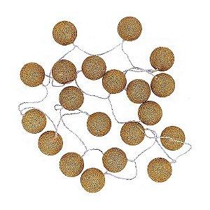 Cordão de Luz com 20 Bolas Douradas em Sisal e LED 3 metros