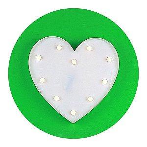 Luminária Coração LED Decorativo Branco 34,5cm