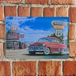 Placa em Metal Vintage Rota 66 30cm x 20cm Rota665