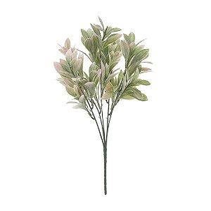 Buquê de Folha de Laranjeira Verde Rosa Nevado 31 cm