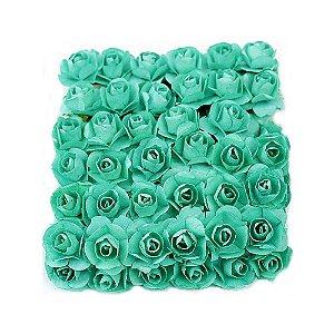 72 Unidades Mini Botão de Rosa em Papel Azul Tiffany
