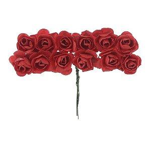 72 Unidades Mini Botão de Rosa em Papel Vermelho