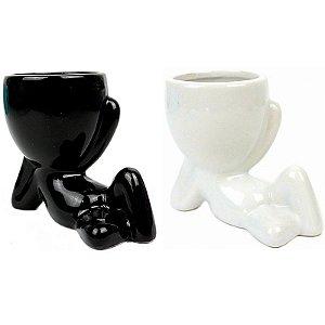 Coleção 2 Vasos Robert Plant em Porcelana White & Black