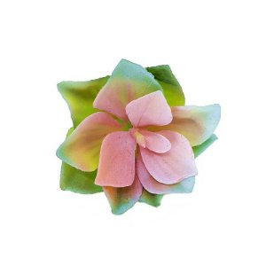 Suculenta Rosa de Pedra em Silicone Verde Claro e Rosa