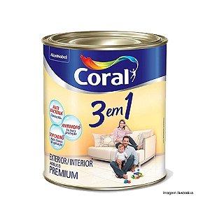 Coral  3 Em 1  Acrílica Fosco Premium 3,6L - Branco Neve