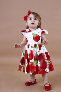 Vestido Cereja Barrado Baby