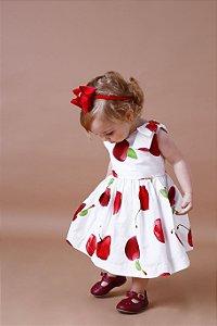 Vestido Cereja Laço Ombro Baby